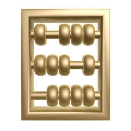 golden abacus symbol isolated on white background photo