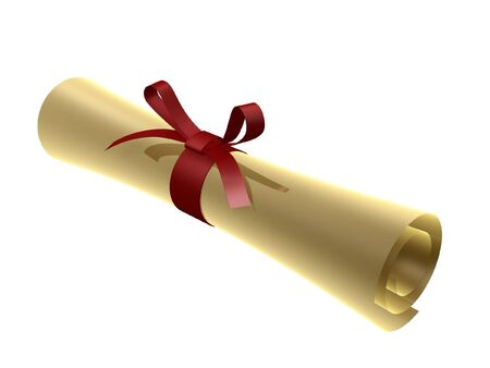 guaranty: certificate scroll with red ribbon isolated on white background