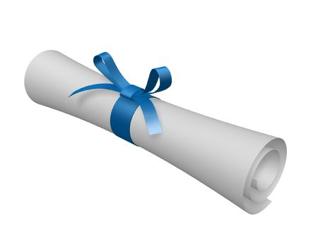 certification: certificate scroll with blue ribbon isolated on white background