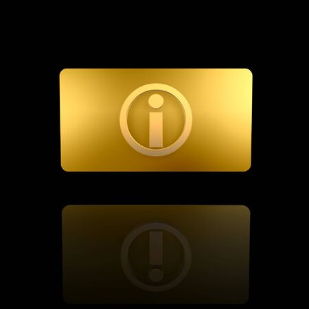golden info card isolated on dark background photo