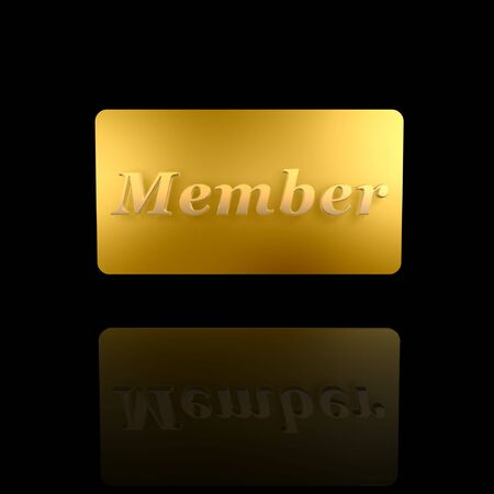 golden member card isolated on dark background photo