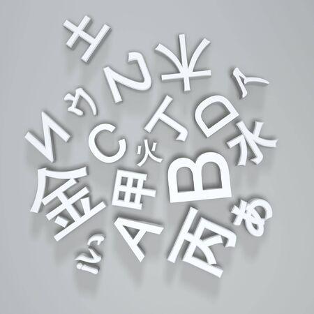 basic fonts of multi-language on light background Stock Photo - 5801436
