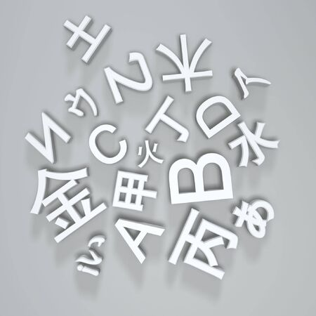 basic fonts of multi-language on light background Stock Photo - 5801436