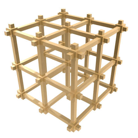 falsework: cage frame structure isolate on whtie background