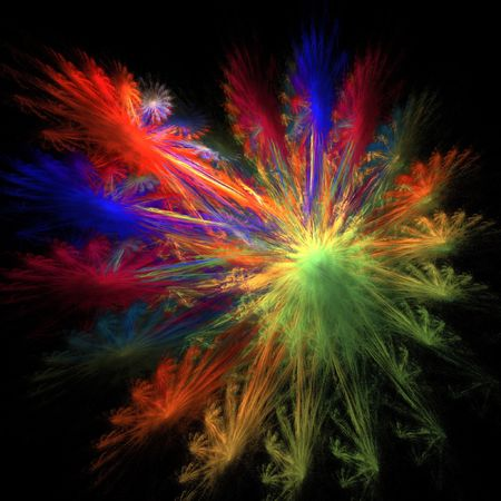 liberate: colorful oil paint of burst on dark background Stock Photo