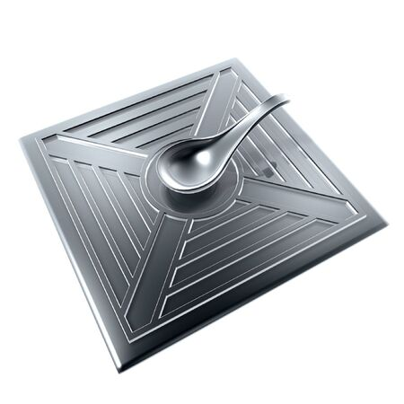 magnetization: silver compass of ancient china isolated on white background Stock Photo