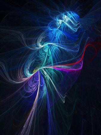 vertebra: colorful chaos knot rays on dark background