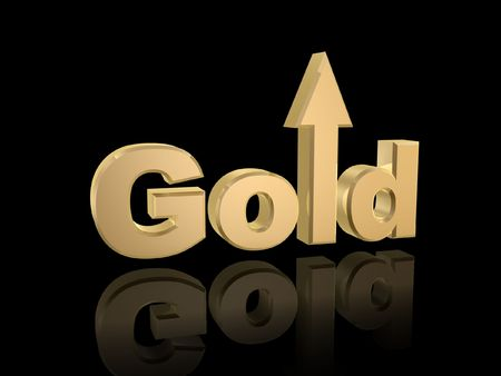 futures: gold rise in value isolated on dark background Stock Photo