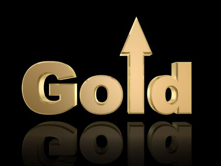 markup: gold rise in value isolated on dark background Stock Photo