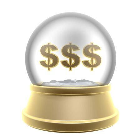 golden globe and dollar symbol isolated on white background photo