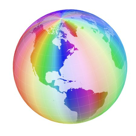 rainbow sphere: colorful globe frame isolated on white background