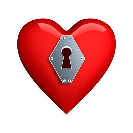 lockup: silver heart lockhole isolated on white background Stock Photo