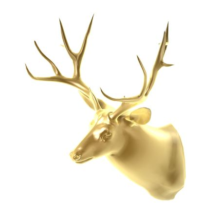 golden deer head isolated on white background photo