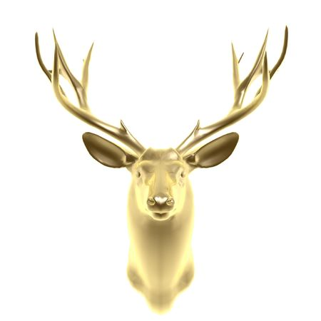 quarry: golden deer head isolated on white background Stock Photo