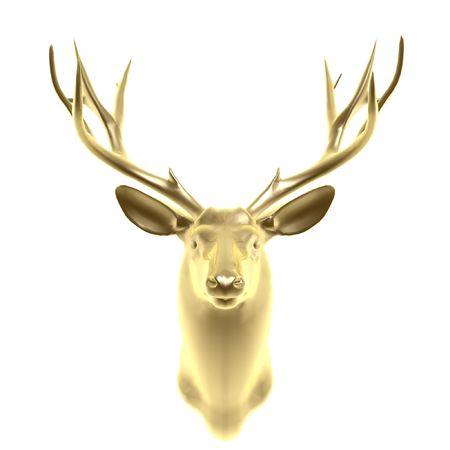 alce: testa di cervo dorato isolato su sfondo bianco  Archivio Fotografico