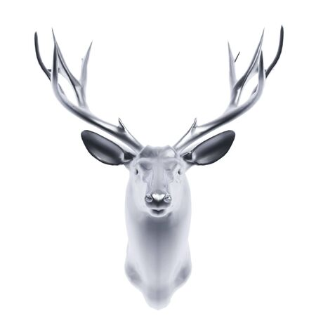 silver deer head isolated on white background photo
