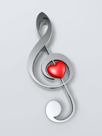 melody: music symbol and heart isolated on white background