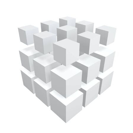 distribution: abstract cubes array isolated on white background Stock Photo