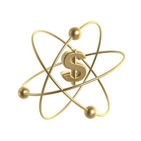 revolve: golden atom dollar strucure isolate on white background Stock Photo
