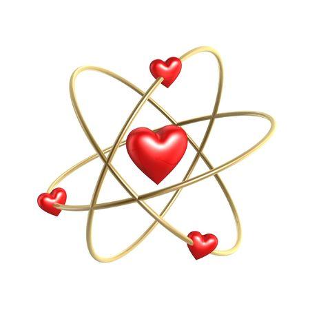 quantum: Love hart atoom strucure model isoleren op witte achtergrond