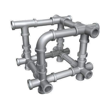 ciclo del agua: estructura de cubo de tuber�as de plomer�a aislar sobre fondo blanco Foto de archivo