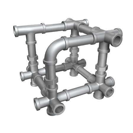 Water cycle: plumbing pipes cube structure isolate on white background