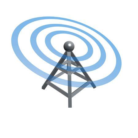 Tour sans fil par ondes radio isolé sur fond blanc