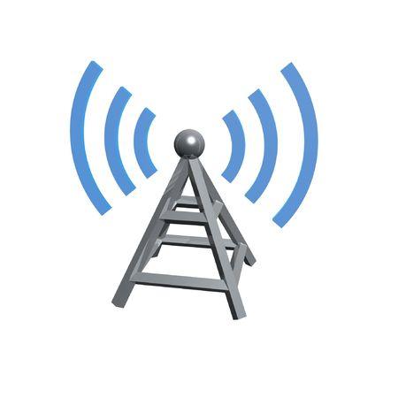 Tour sans fil par ondes radio isolé sur fond blanc Banque d'images