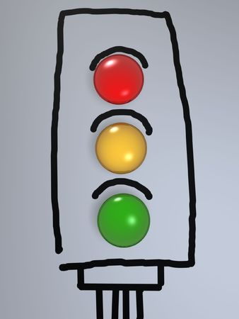 traffic light candy on hand drawing paper photo