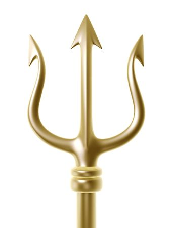 trident: golden trident of Poseidon isolated on white background