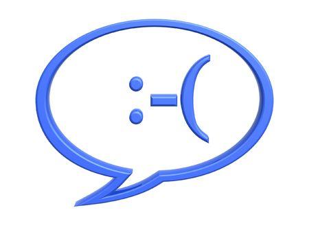 Chat expresión triste símbolo aislado sobre fondo blanco Foto de archivo ,  6739242