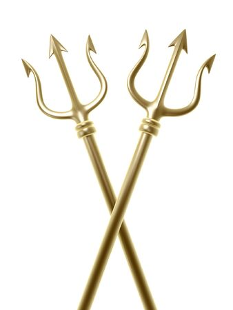 forbid: golden tridents of Poseidon crossing  isolated on white background