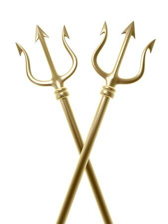 neptun: Golden Tridents von Poseidon �berqueren isolierten auf wei�en Hintergrund