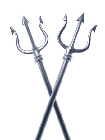 forbid: silver tridents of Poseidon crossing isolated on white background  Stock Photo