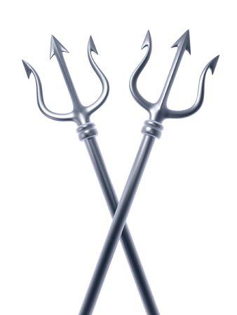 poseidon: silver tridents of Poseidon crossing isolated on white background  Stock Photo