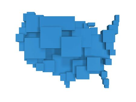 solid state: box map of united states isolated on white background