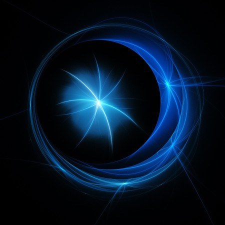 crescent moon: crescent moon star rays on dark background Stock Photo