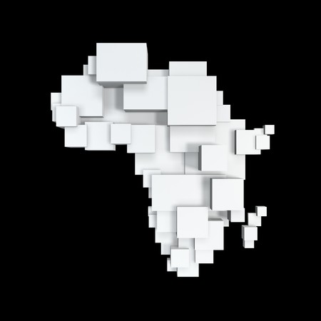 african business: box map of africa isolated on black background Stock Photo