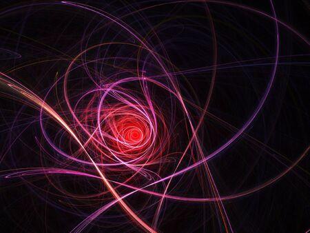 ray trace: Rosa espiral vid rayos sobre fondo oscuro  Foto de archivo