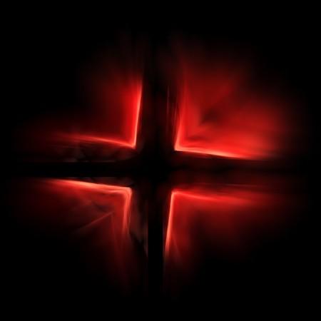 rood kruis: rood kruis Golf schaduw op donkere zwarte achtergrond