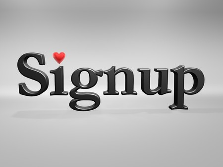 signup: signup with love heart isolated on light background