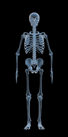 horror face: blue x-ray skeleton isolated on dark background