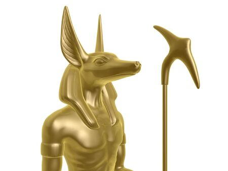 golden Egypt anubis guard isolated on white background photo