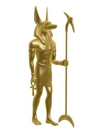 egypt anubis: golden Egypt anubis guard isolated on white background