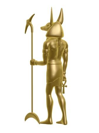 egypt anubis: golden Egypt anubis guard back isolated on white background