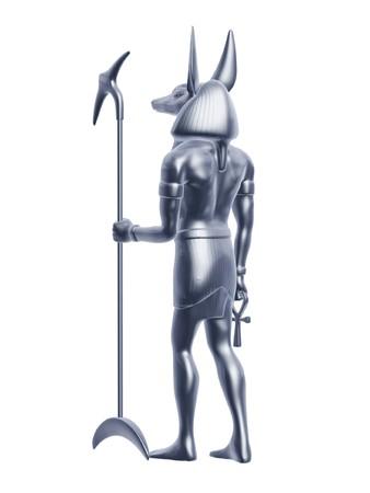 egypt anubis: silver Egypt anubis guard back isolated on white background