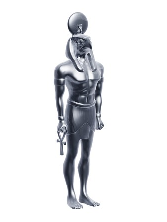 horus: Estatua de Egipto horus aislado sobre fondo blanco de plata