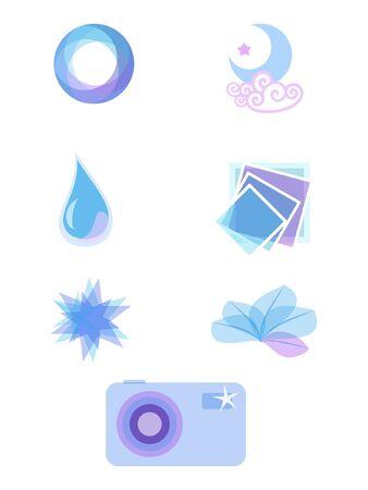Iconos de color rosas azules de agua, redondo, Luna, estrellas, cámara, fotos, hojas  Foto de archivo - 7456195