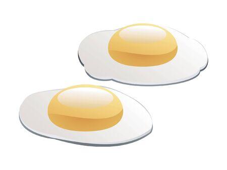 Dos huevos fritos para el desayuno aislados sobre fondo blanco  Foto de archivo - 7495019