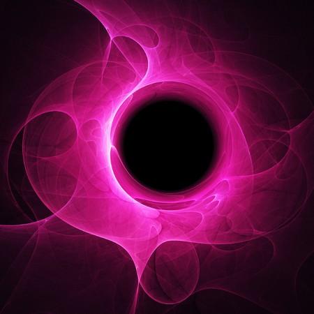 black hole of chaos pink rays on dark black background Stock Photo